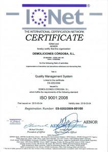Certificado Calidad Internacional